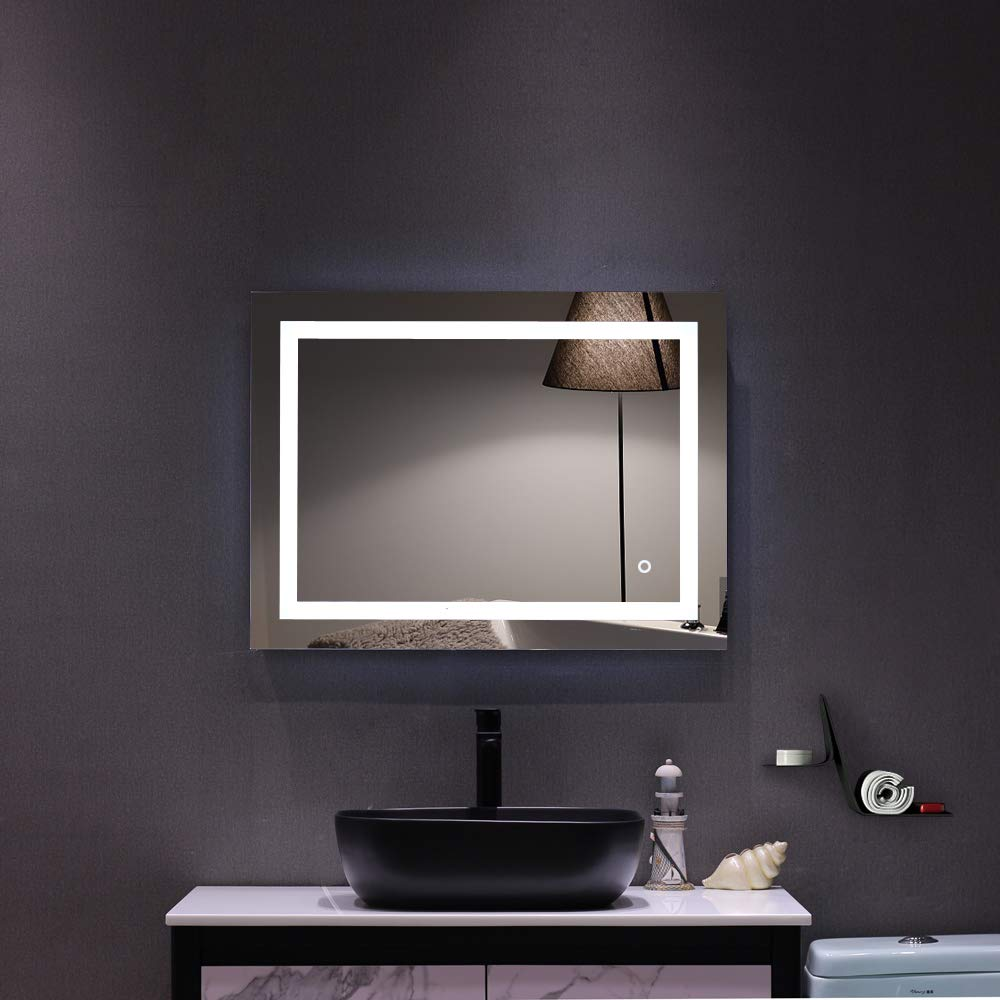 DANGRUUT LED Lighted Bathroom Mirror, Wall Mounted Vanity Mirror Touch Button, Waterproof and Anti Fog, Vertical or Horizontal Installation Square Makeup Mirror (32''x 24'') by DANGRUUT