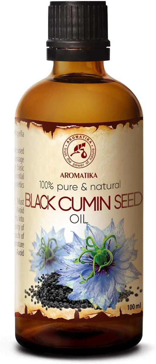 Аceite de Alcaravea Negra 100ml - Nigella Sativa Seed Oil - Egipto - Presión en Frío - 100% Puro y Natural - Botella de Vidrio - Cuidado para Rostro - Cuerpo - Cabello - Masaje - Cosmético