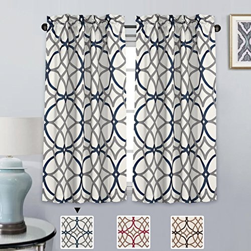(H.VERSAILTEX Window Treatment Tailored Tiers - Pair of Home Decor Blackout Rod Pocket Curtains - Grey and Navy Geo Pattern - (58