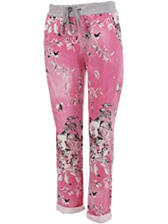1b522ec11a3 LavishFashionTown New Italian Ladies Floral Elastic Waist Cotton Summer  Trouser Jogger UK Size 10-16