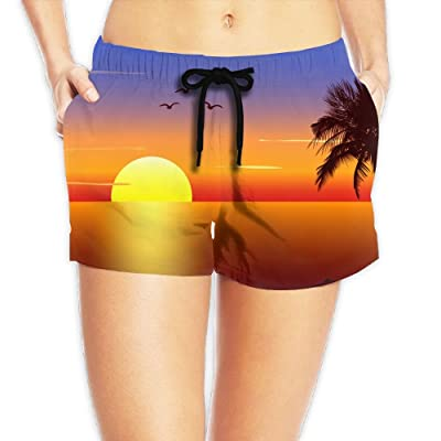 Usieis Sunset with Palmtree Silhouette Surfing Pocket Elastic Waist Women's Beach Pants Shorts Beach Shorts Swim Trunks