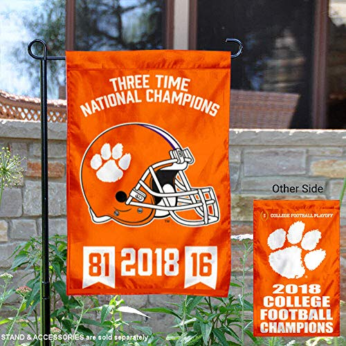 (College Flags and Banners Co. Clemson Tigers 3 Time National Champions Garden Flag)