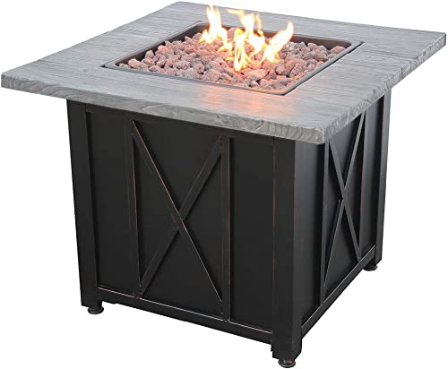 Uniflame 30″ Square Wood Grain Printed Mantel LP Gas Patio Fire Pit
