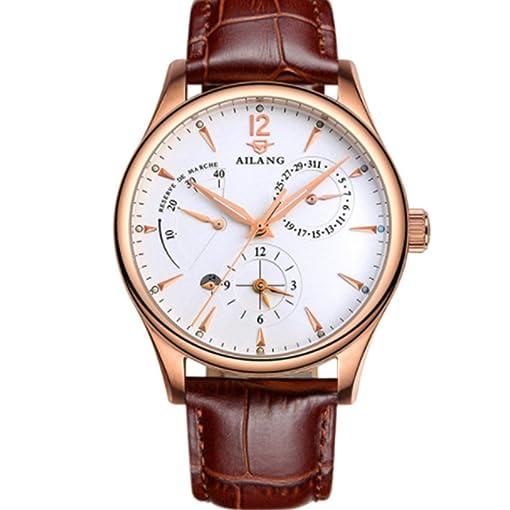AILANG Mecánica Relojes de Los Hombres de Cuero Genuino Reloj Calendario Impermeable de Los Hombres Relojes