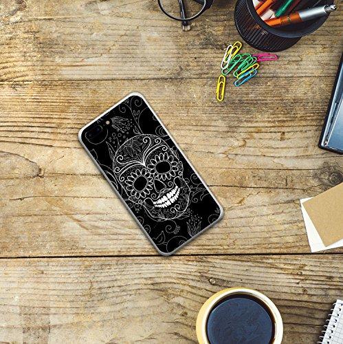 iPhone 8 Plus Hülle, WoowCase Handyhülle Silikon für [ iPhone 8 Plus ] Schwarzer zuckeriger Totenkopf Handytasche Handy Cover Case Schutzhülle Flexible TPU - Transparent