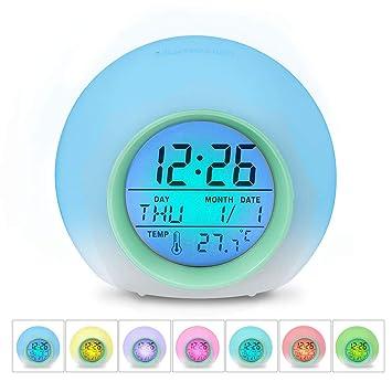 SZJJI Despertador Reloj Despertador Digital 7 Colores Cambiar la Naturaleza Sonidos de un Toque de Control de sueño amistoso con Pantalla de Temperatura ...