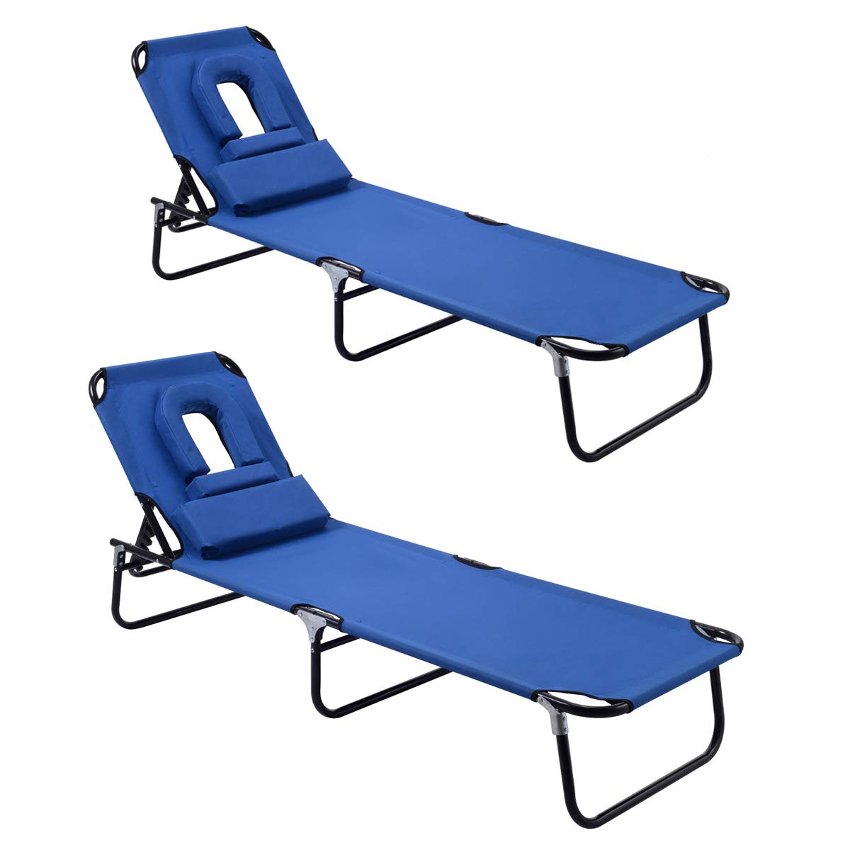 Goplus Folding Chaise Lounge Chair, Adjustable Back Outdoor Beach Pool w/Tanning Face Down Hole (Blue 2 Pieces) by Goplus