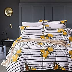 Wake In Cloud - Striped Duvet Cover Set, 100% Cotton Bedding, Yellow Lemon Pattern with Black and White Stripes Printed (3pcs, Queen Size)