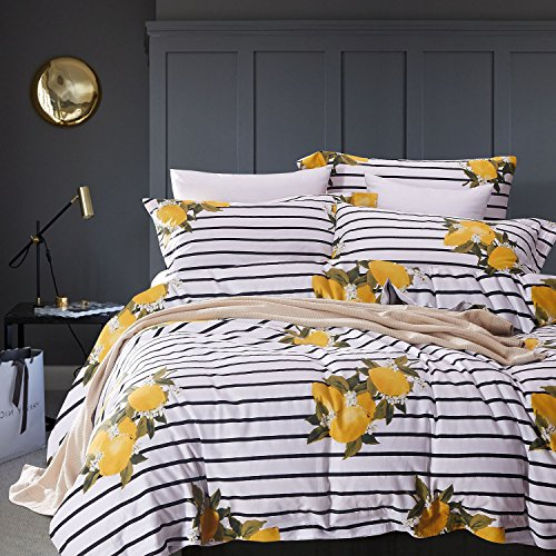Striped Duvet Cover Set, 100% Cotton Bedding, Yellow Lemon Pattern with Black and White Stripes Printed (3pcs, King Size)