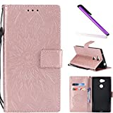 COTDINFOR Sony Xperia L2 Protection Case For Girl Elegant Retro Flip Case Wallet PU Premium Leather Magnetic Slim Stand Covers Card Holder for Sony Xperia L2 Rose Gold Sunflower KT.