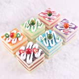 NICE PURCHASE 6pcs Realistic Artificial Cake Assorted Mixed Fake Cake Model Home Staging Equipment Crafts Photography Props Home Decoration Cube Cake