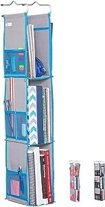 Moditty   Hanging Locker Organizer for School, Work, Gym Storage   3 or 2 Shelf   9x6x38 Inches   Polyester (Blue)