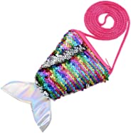 Little Girl Shoulder Bag Cute Mermaid Sequins Messenger Bag Mini Coin Purse Handbags Pouch