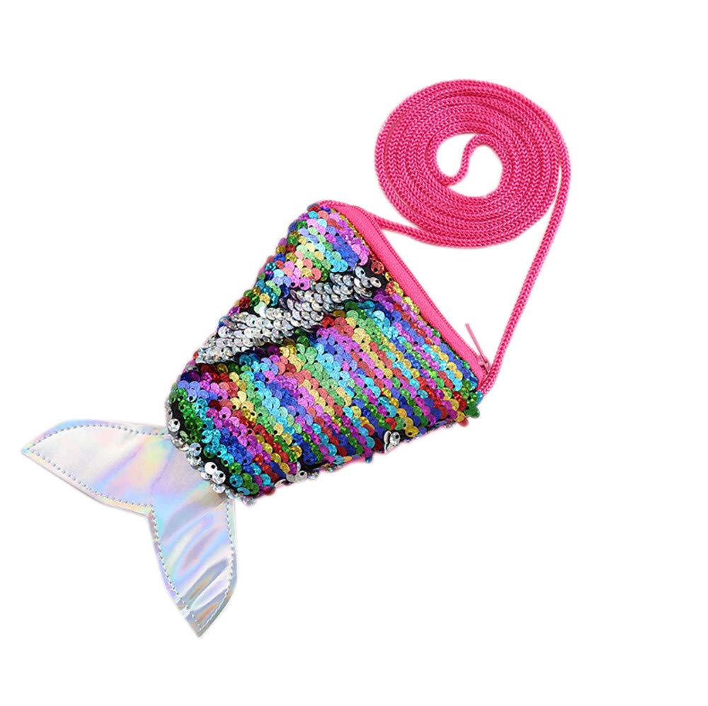Sequined Fishtail Coin Purse Lanyard Coin Bag Small Wallet Little Girl Makeup Bag doll Dress Up Party, 4 USD, Kid's Gift (Multicolor)