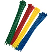 100 pack kabelband – 300 mm x 3,6 mm – premiumband med knytband – högkvalitativa nylonband med buntband – röd, gul, blå…