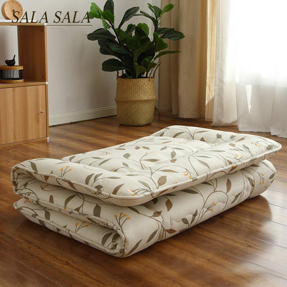 Love Home Tatami Fußmatte, Matratzen-Auflage, japanische Faltbare Blume, verdickte atmungsaktive Krabbelmatte Schlafmatratze für den Boden, Schaumstoff, gelb, 135x200cm(53x79inch)