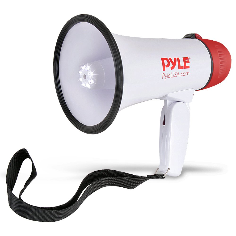 Pyle Megaphone Speaker PA Bullhorn - Built-in Siren & LED Lights - 30 Watts & Adjustable Vol. Control - for Football Soccer, Baseball Basketball Cheerleading Fans Coaches & Safety Drills (PMP37LED)