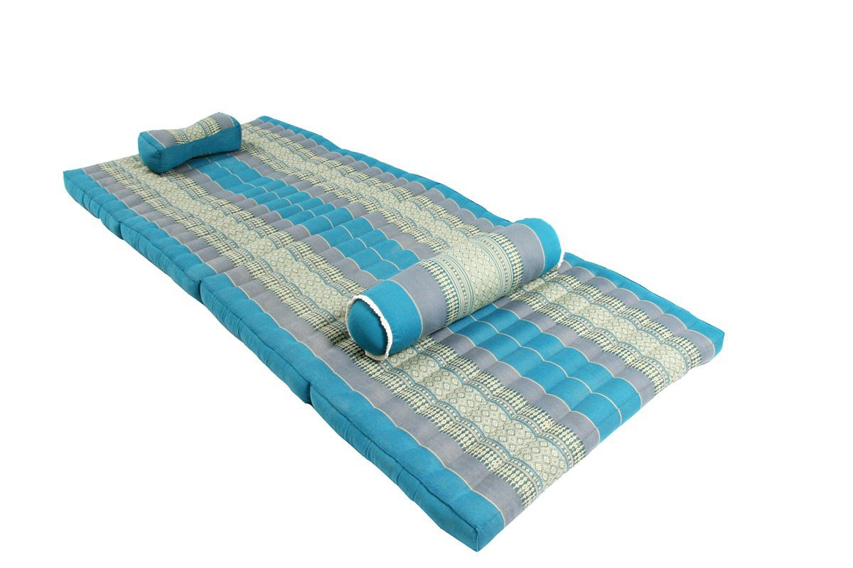 Thai Massage Set: Foldable Mat + Pillow + Bolster, SkyBlues (All Filled with 100% Kapok) by Handelsturm