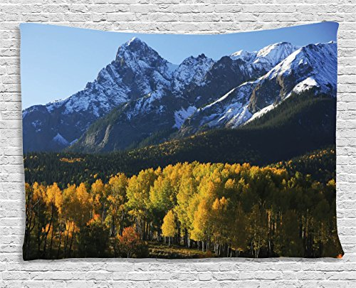 Ambesonne Americana Landscape Decor Tapestry, Snow Village Mountain Retreat Colorado Park Pine Region Peak, Wall Hanging for Bedroom Living Room Dorm, 80 W X 60 L inches, Green Blue
