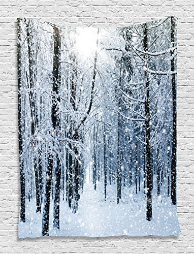 Snowy Trees Mountain Winter Holiday Digital Printed Forest Tapestry Wall Hanging Valentines