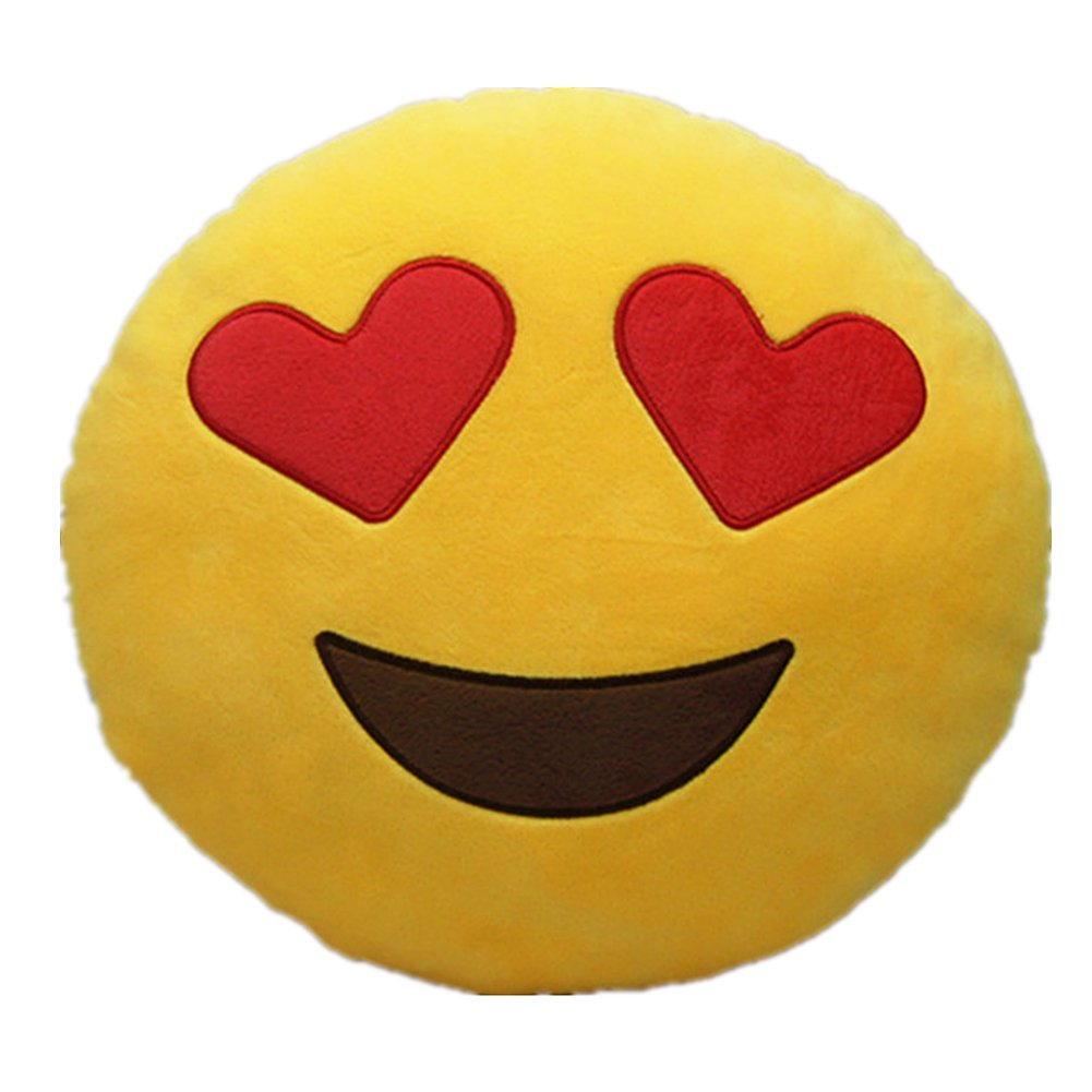 LI&HI 32cm Emoji Smiley Emoticon Yellow Round Cushion Pillow Stuffed Plush Soft Toy (Heart-eyes) LIHI-BZ-0006