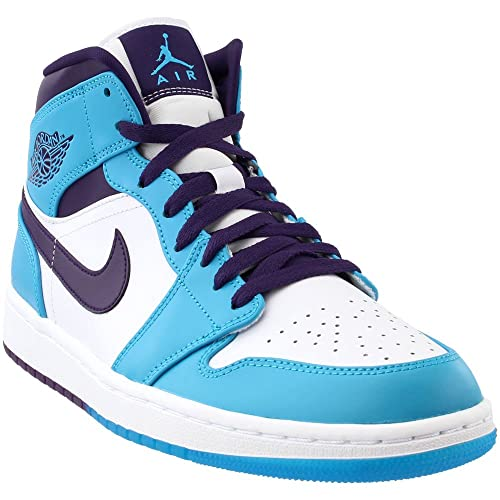1c8f92831876a0 NIKE Men s Air Jordan 1 Mid Shoe Blue Lagoon Grand Purple  Amazon.co ...