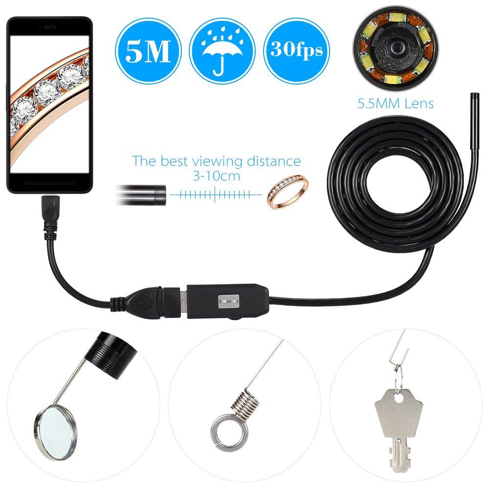 OWSOO 6 LED 7MM Lentille Endoscope IP67 Inspection Endoscope USB /étanche Fil Serpent Tube Cam/éra 6LEDS Depuis OTG Compatible Android Smart Phones 3M