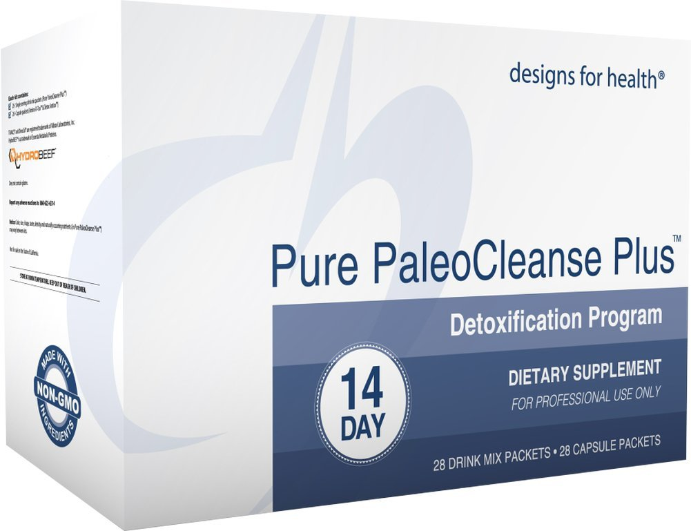 Designs for Health - Pure PaleoCleanse Plus 14 Day Detox Program - Bone Broth Protein + Green Tea + Alkalizing Vegetables for Liver Support, 28 Packs