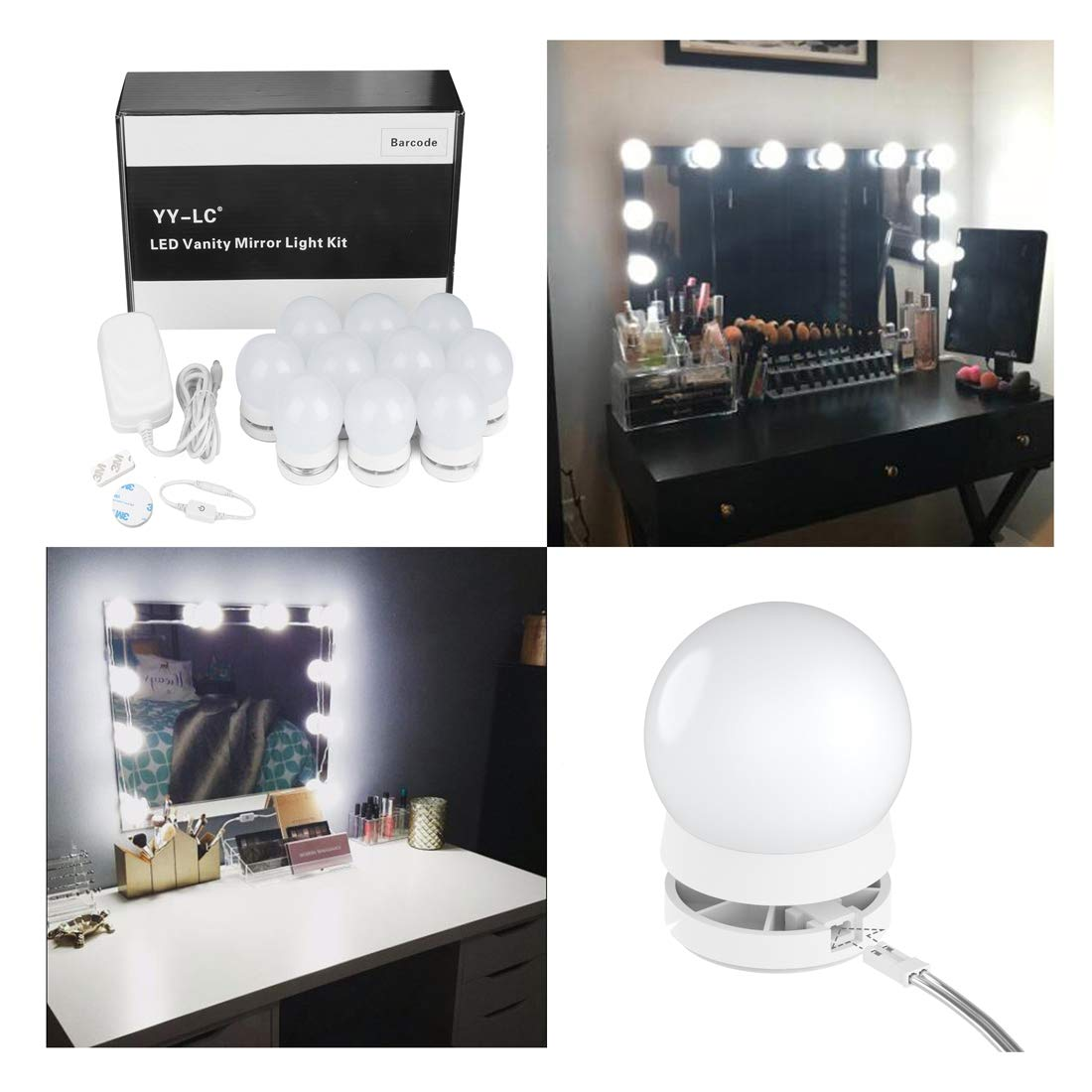 YY-LC LC178 Hollywood Style LED Vanity Mirror Light Bulbs Kit with Dimmer Switch,Power Supply,Can Hide Wires and Replaceable Bulbs,for Makeup Vanity Table Set,10 Light,Mirror Not Included