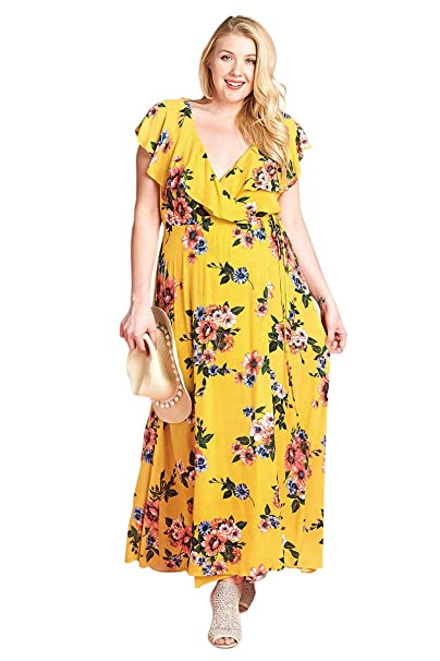 Amazon.com: Oddi Plus Size Sunshine & Roses Floral Ruffle ...