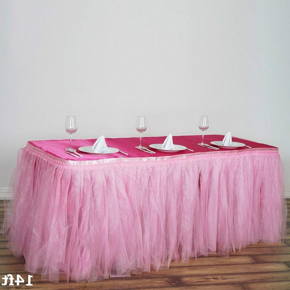 Mikash Two Layers Tulle Table Skirt 3 Sizes Wedding Party Linens Dinner Decorations | Model WDDNGDCRTN - 9896 | 21 ft x 29034