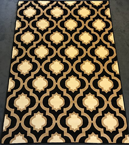 Antep Rugs Kashan King Collection Trellis Area Rug Black and Cream 5' X 7' - 5' Contemporary House