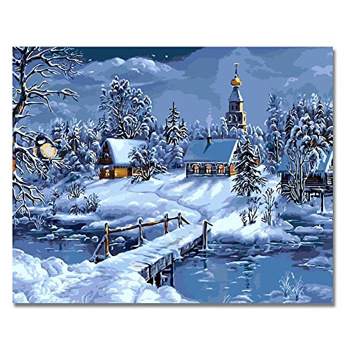 LIUDAO DIY Oil Painting Paint by Number Snow Scenery 16x20 Inch Without Frame
