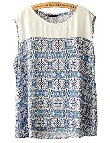 Lanmo-Womens-Viscose-Shirt-Round-Neck-Sleeveless-Blouse-Pocket-Blue-Floral-Top