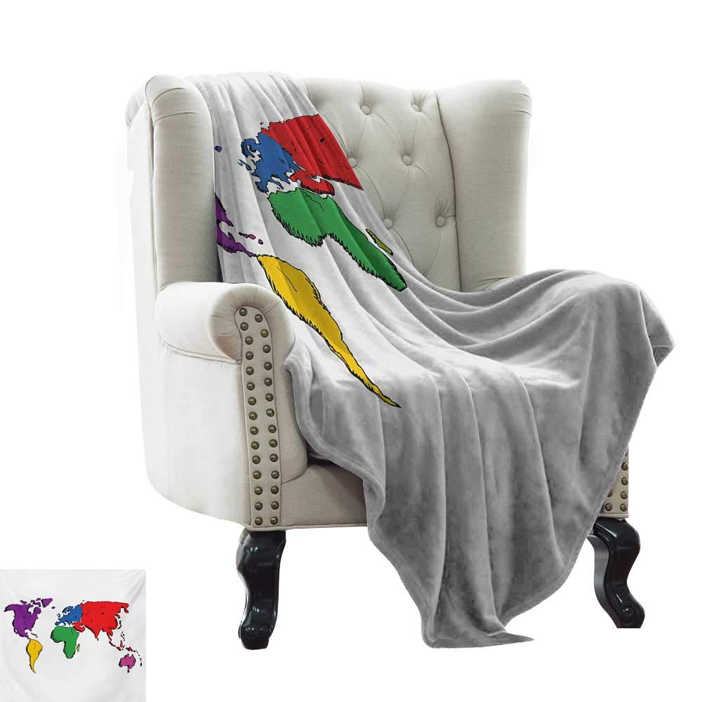 color04 60 x70  Inch BelleAckerman Weighted Blanket for Kids World Map,Graphic United States Flag American Federations Stars National Symbol Print,White Red bluee Throw Blanket for Ultimate Comfort 50 x60