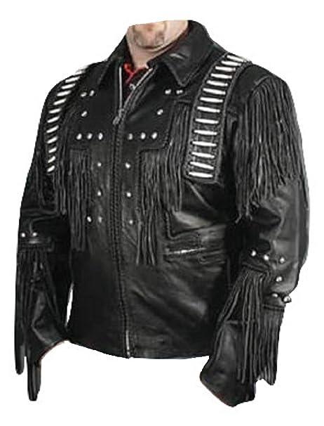 timeless design eb077 73bb0 Uomo Occidentale frange & Bonned Cowboy giacca di pelle nera ...