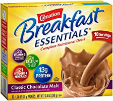 Carnation Breakfast Essentials, Classic Chocolate Malt Powder, 1.26 oz, 10-Count Envelopes (Pack of 6)
