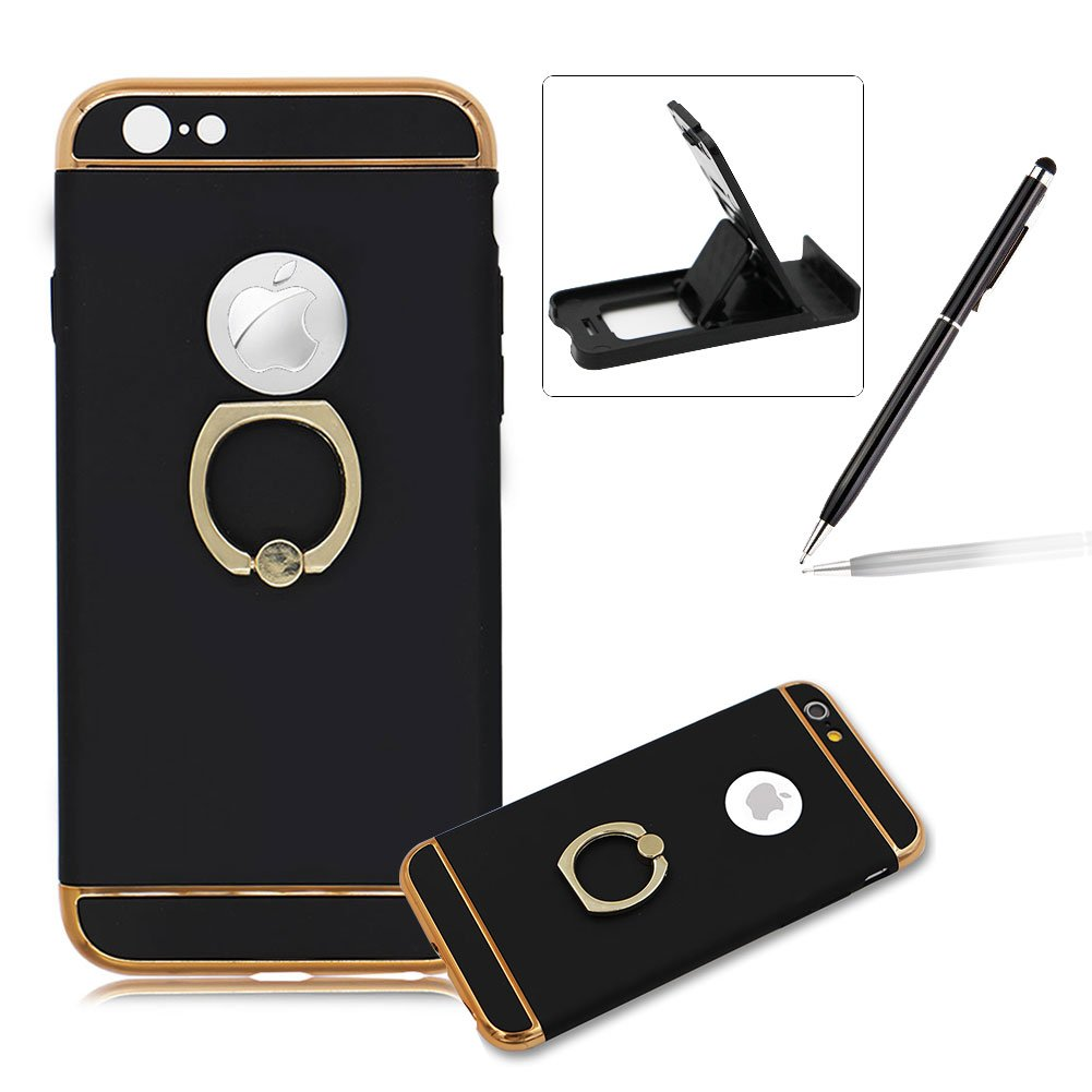 3 in 1 Plating Case for iPhone 6S Plus, Full Body Hard Back Cover for iPhone 6 Plus, Herzzer Luxury [Electroplating Technology] PC Texture Back All-Round Protection Case For iPhone 6 Plus/6S Plus 5.5 inch, Gold