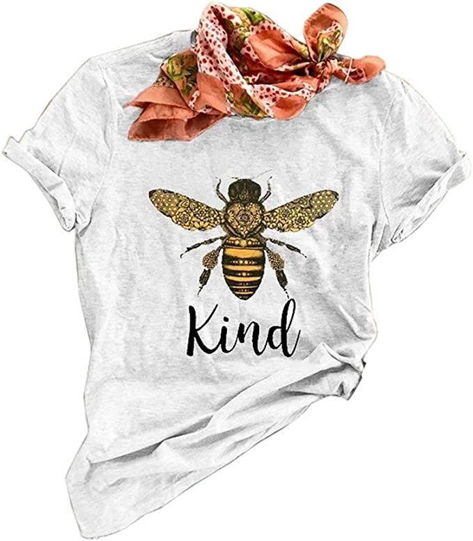 Koodred Womens Bee Kind Graphic Short Sleeve Crew Neck Summer Casual Loose Tee T Shirts Tops