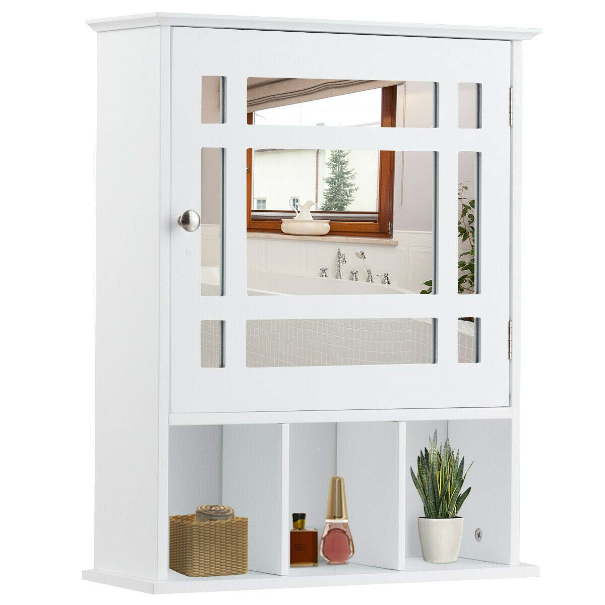 Tangkula Mirrored Medicine Cabinet, Bathroom Wall Mounted Storage Cabinet with Adjustable Shelf and 3 Open Compartments (White) by Tangkula