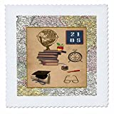 Beverly Turner Graduation Design - Vintage Graduation, Globe, Chalkboard, 2015, Clock, Cap, Diploma - 10x10 inch quilt square (qs_203354_1)