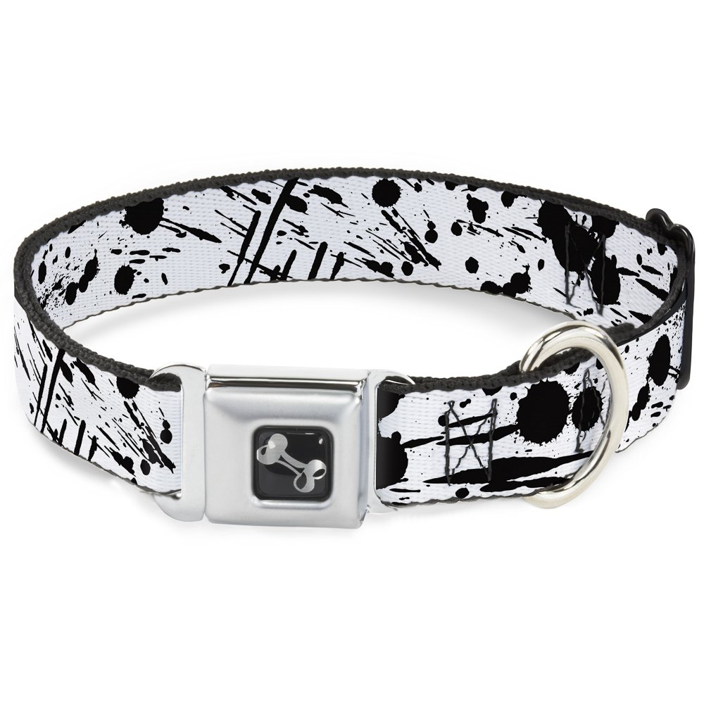 Buckle-Down Seatbelt Buckle Dog Collar Splatter White Black 1  Wide Fits 9-15  Neck Small