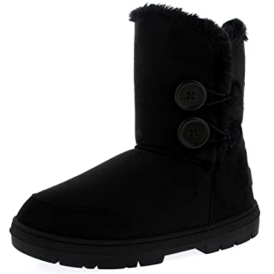 Womens Twin Button Waterproof Winter Snow Boots