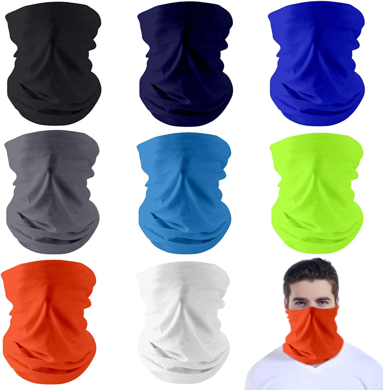 Dapaser 8 Pack Reusable Cooling Neck Gaiter Face Cover Balaclava UV Protection Breathable Bandanas Scarf for Women Men