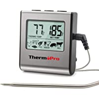 ThermoPro TP-16 Large LCD Digital Cooking Food Meat Smoker Oven Kitchen BBQ Grill Thermometer Clock Timer with Stainless Steel Probe