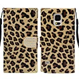 Bessky? Fashion Leopard Wallet Leather Hard Case Cover for Samsung Galaxy S5 i9600 (Golden)