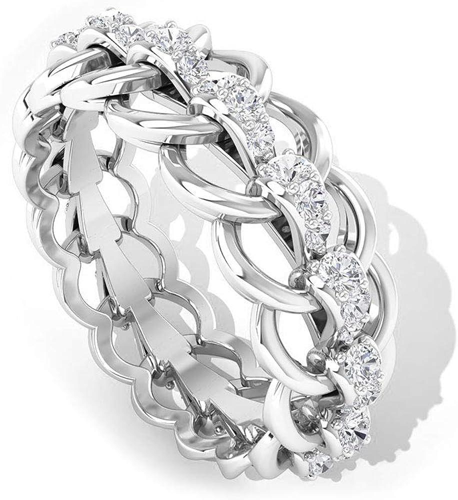 Anillo de compromiso de boda con certificado IGI de 0,31 quilates, anillo de compromiso de novia, IJ-SI claridad de color, anillo de oro de diamantes, 18K Oro blanco, Size:EU 62