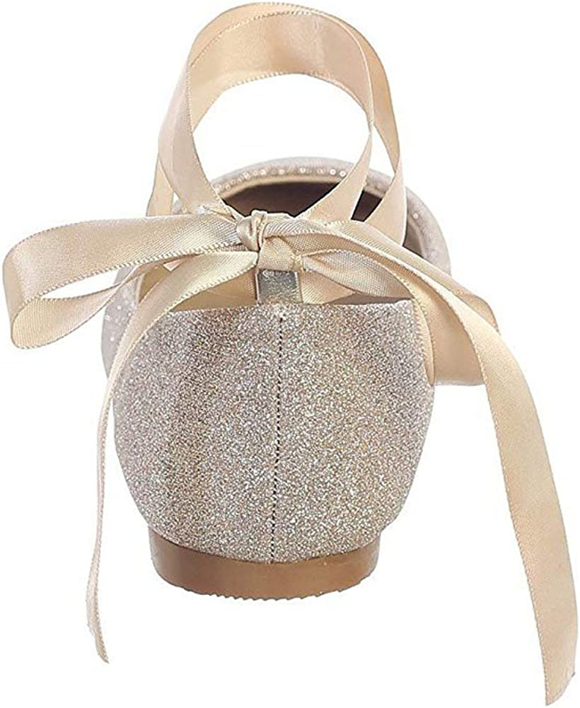 Girls Rose Gold Glitter Satin Ribbon Ankle Ties Ballerina Shoes 5 Kids