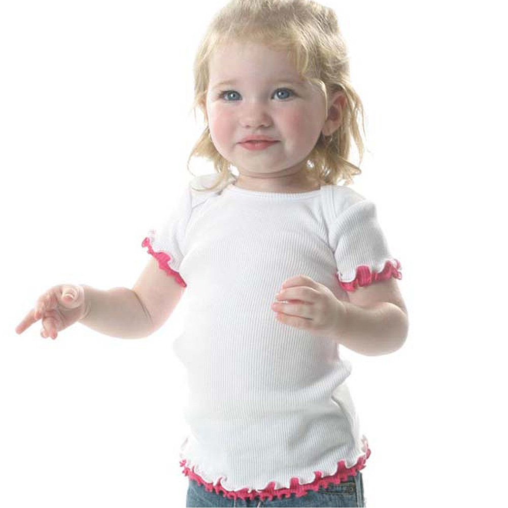 Infant Lap Shoulder Short Sleeve Lettuce Edge Top (White/ Blue, 12M)