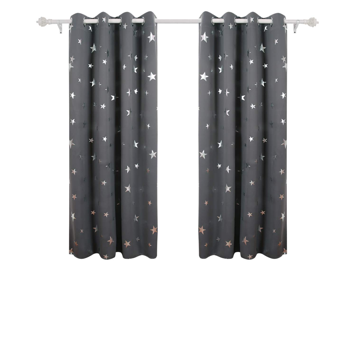 Deconovo Stars Foil Printed Thermal Insulated Curtains Eyelet Blackout Curtains for Kids Bedroom 46 x 54 Inch Blue One Pair